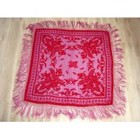 China Rose flower burnout velvet scarf  with fringes ,  square shawl with crochet trims on sale