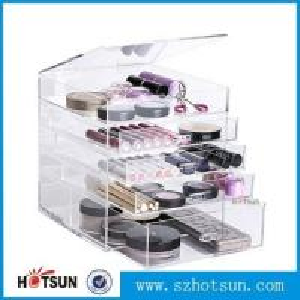 Quality Diamond Handle Clear Acrylic Makeup Organizer, Acrylic Makeup Drawer Box, Flip Cover Acrylic Cosmetic Storage wholesale
