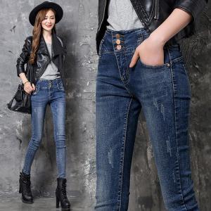Quality Jeans Slim leg Fashion Elastic Fabric 98%Cotton  2%Spandex Colour fastness more than 4 class EURO Size High Waist Design wholesale