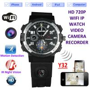 Quality Y32 32GB 720P WIFI IP Spy Watch Camera Wireless Remote CCTV Video Monitor IR Night Vision Home Security Nanny Camera wholesale