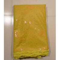Quality Ladies Clothing Embroidered Mesh Fabric , Yellow wholesale