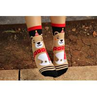 Quality Lovely christmas bear patterned design winter cotton socks for women wholesale