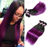 China Peruvian Straight Hair 7A Ombre Human Hair Extensions 1B / Purple Color on sale