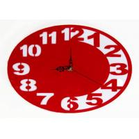 Quality Gift Acrylic Ultra Thin Circle Clock Red Wall Sticker Clock Classical Style wholesale