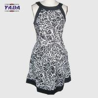 Quality New fashion round neck sleeveless flower printed casual dresses brand pretty women knitted dress in cheap price wholesale