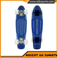 China 22x6inch 4 transparent PU wheel plastic skateboard for wholesale on sale
