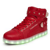 China Ladies Red High Top Light Up Shoes , Breathable Custom Led Shoes For Girls on sale