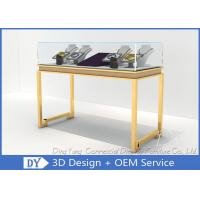 Quality Beauty Practicability Glass Jewelry Showcases With Dis - Assembly Gold Legs wholesale