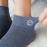 China Wholesale Good Quality New Style Embroidery Smile Face Cute Cotton Knitted Women Ankle Socks on sale
