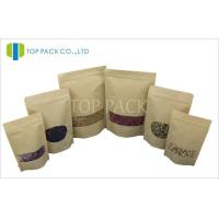 Quality Window Kraft Paper Stand Up Pouch With Zipper , Small Brown Kraft Paper Bags wholesale