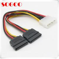 China IDE SATA cable Splitter Use for Computer Hard Drive ,12in LP4 to 2x Latching SATA on sale