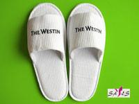 Quality Embroidery Open Toe White 100 % Microfiber 39 40 Womens Disposable Hotel Slipper wholesale