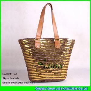 China LUDA golden sequins deco straw beach bag ladies straw handbag on sale