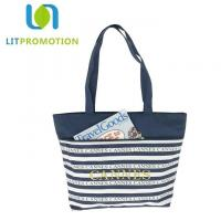 China 600D City Name Souvenir Personalized Beach Tote , Blue And White Striped Beach Bag on sale