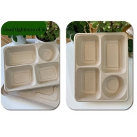 China Four Grid Packaging Disposable Lunch Box ,  Biodegradable Takeaway Lunch Box on sale
