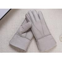 Quality Double Face Winter Sheepskin Leather Gloves With Lambswool Lining / Natural Dyed Color wholesale