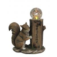 Quality Classical Squirrel Welcome Garden Solar Light , Animal Solar Lights Outdoor With Glass Ball wholesale