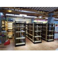 Quality Supermarket Industrial Pallet Racks Metal / Wood Display Shelving Double Sided wholesale