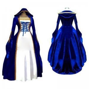 Quality Medieval Dress Wholesale XXS to XXXL Cosplaydiy Blue&White Victorian Medieval Renaissance Dress Cosplay Costume wholesale