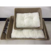 China rattan cat bed with plush cushion set,100%export quality,custom order welcome on sale