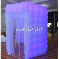 Cheap white oxford octagon inflatable photobooth with 1 door enclosure with led lights for sale