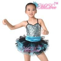 Quality Sequin Top Two Colour Pleated Tulle Skirt Spandex Kids Dance Clothes wholesale