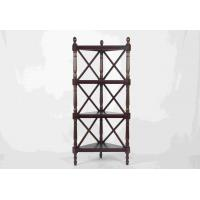 Quality Walnut Soild Wooden Corner Shelf 4 Tiers , Multi Purpose Storage Rack Living Room wholesale