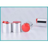 Quality 24mm Aluminum Disc Top Cap Glossy Silver For Body Wash Gel / Hand Washing Soap wholesale