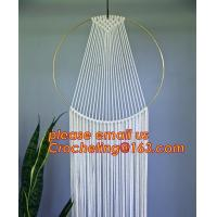 China Macrame Wall Art Hanging Tapestry Wedding Decoration with Lace Fabrics, MACRAME CUSHION COVER, MACRAME HAND BAND on sale