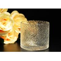 Quality Leaf Pattern decorating clear glass candle holders for wedding , 18oz wholesale