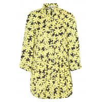 China High Collar Outsize Womens Clothing Flower Printed Long Blouse With Buttons on sale