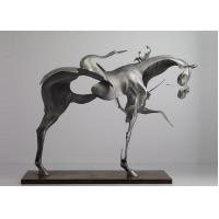 Quality 170cm Life Size Abstract Stainless Steel Horse Sculpture Brushed Finishing wholesale