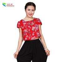 Quality Custom Printed Floral Cotton Shirts Ethnic China Blouses wholesale