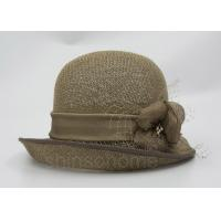 Quality Fashionable Brown Mesh Bucket Beret Hat For Lady , Floriation Logo With Ribbon wholesale