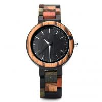 Quality Colorful Wooden Strap Watch Natural Wood Case Back , Laser Engraved wholesale