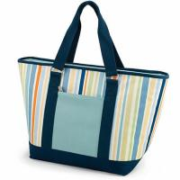 Quality Multifunctional Canvas Cooler Tote Bag Light Blue Convenient Outside Pocket wholesale