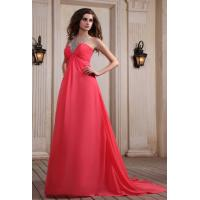 Quality Watermelon A Line Halter Beaded Girls Long Evening Party Dresses , Chiffon Fabric wholesale