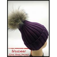 Buy cheap Winter Women Real Raccoon Fur ball Knit Beanie Hat from wholesalers