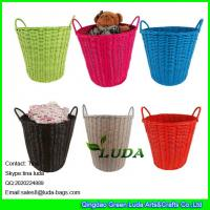 China LDKZ-031 rainbow pp woven laundry basket  fashion household essentials tapered storage basket on sale