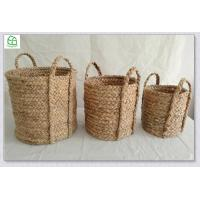 China Beachcomber Utility basket 100% hand woven water hyacinth round storage basket with handle, hamper, seagrass basket on sale