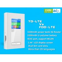 Quality Dual sim card slots 4g router with RJ 45 Port and 5200mAh power bank wholesale