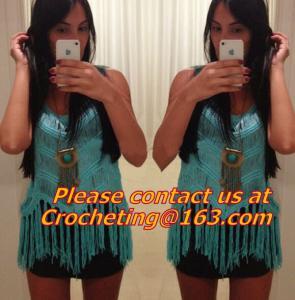 Quality Crochet tops, deep v neck halter top/spaghetti strap tank tops/lace colete croche/wh wholesale