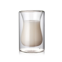 China Heat Resistant 120ml Mouth Blown Double Wall Glass Cup on sale