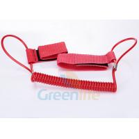 Quality 1.5M Long Quality Red Plastic Spring Coil Fishing Lanyard With  Strap 2pcs wholesale