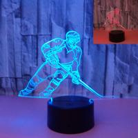 Quality Sports Ice hockey colorful 3D night light LED gradient Hockey player touch 3D visual stereo light wholesale