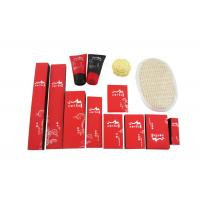 Quality Disposable Hotel Amenities Set , Hotel Room Amenities Red Black Color 14 Items wholesale