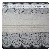 Quality White Corded Bridal Lace Fabric For Wedding , Embroidery Lace Fabric wholesale