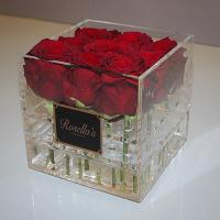 Quality best selling plexiglass display box with cover royal rose acryl clear flower packaging box with logo wholesale