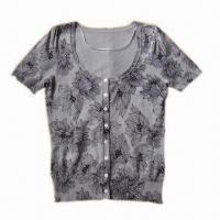 Cheap Ladies Knitted T-shirt with Perfect Workmanship, Made of 80% Viscose and 20% Nylon for sale