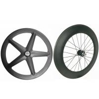 Quality Light Weight Carbon Track Bike Wheels Tubular Front 5 Spoke With Super Strength wholesale